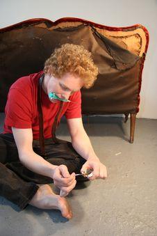 Drug Addict Preparing Injection Royalty Free Stock Photos