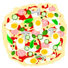 Free Multi Ingredient Pizza Vector Stock Photography - 6805072
