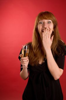Free Surprised Girl With Champagne Glass Royalty Free Stock Photos - 6805158