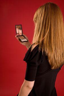 Beautiful Girl Looking In Mirror Stock Photos