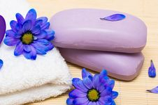 Free Soap And Towel With Blue Flowers Stock Image - 6805321