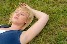 Attractive Blond Outdoors Stock Photo