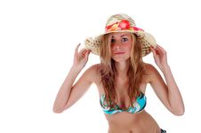 Free PRETTY BLONDY WITH HAT Stock Image - 6807001