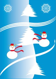 Free Snow Men And Silver Firs. Royalty Free Stock Photos - 6807088