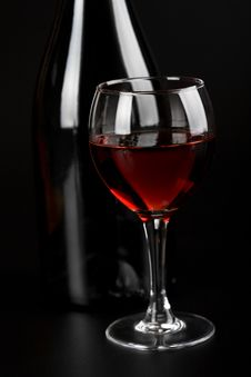 Free Glass Of Red Wine And Bottle Stock Photo - 6807180
