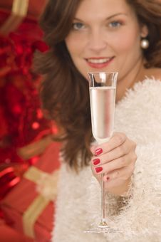 Free Beautiful Woman Toasting With Champagne Royalty Free Stock Photography - 6807217