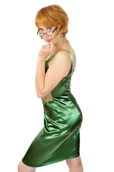 Free Dodger Pretty Woman In Shiny Green Dress Royalty Free Stock Photos - 6807288
