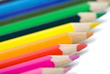 Free Line Of Colorful Pencils Isolated Royalty Free Stock Photos - 6807298