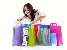 Free Happy Shopping Girl Stock Image - 6807951