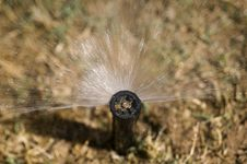 Water Sprinkler On Landscaped Lawn Stock Photo