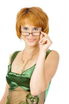 Beautiful Green-eyed Smiling Woman In Glasses Stock Photos