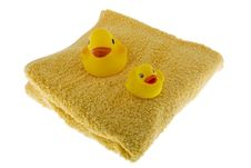 Free Rubber Duck Sits On Towel Royalty Free Stock Images - 6808429