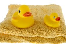 Free Rubber Duck Sits On Towel Stock Images - 6808434