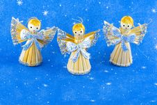 Free Straw Christmas Angels Stock Photos - 6808873