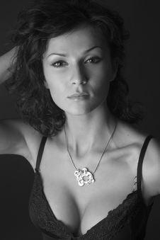 Beautiful Girl Posing In Studio, Grayscale Royalty Free Stock Photography