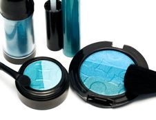 Free Blue Set For Make-up Stock Image - 6809421