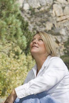 Beautiful Mature Woman Outdoors 2 Stock Photography
