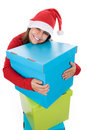 Free Young Santa Woman Holding Giant Blue Present Box Royalty Free Stock Image - 6816586