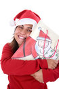 Free Happy Santa Woman Holding Present Bag In Her Hands Stock Images - 6816594