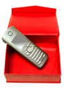 Free Gray Mobile Telephone And Red Cardboard Box. Stock Photography - 6817842