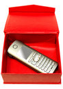 Free Gray Mobile Telephone And Red Cardboard Box. Royalty Free Stock Images - 6817859