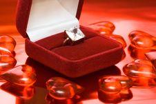 Diamond Ring In Red Box Stock Image