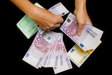 Free Euro Currency In Hands On Black Royalty Free Stock Photos - 6810488