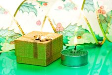 Free Golden Gift Box And Candle Royalty Free Stock Photo - 6810625