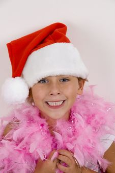 Free Smiling Cute Girl With Christmas Hat Stock Image - 6810711