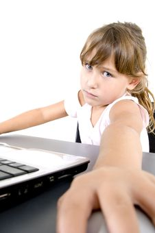 Free Little Girl With Laptop Stock Photo - 6810790