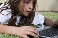 Free Lying Little American Boy Playing With Laptop Royalty Free Stock Photo - 6810915