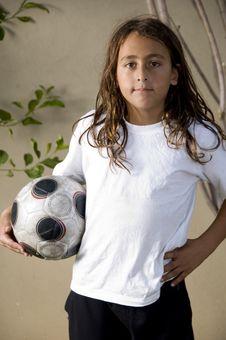 Tired Boy With Soccer Ball Stock Photos