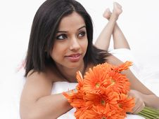 Free Woman With A Bunch Of Gerbera Stock Images - 6811144
