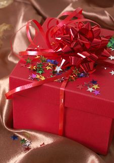 Free Red Gift Box With Bows And Stars Stock Photography - 6811232