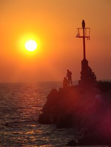 Free Sunset At The Lighthouse Stock Photo - 6811680