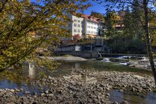 Kempten Riverside In Autumn Royalty Free Stock Photography