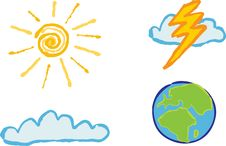 Free Shiny Weather Icons Royalty Free Stock Photo - 6812645