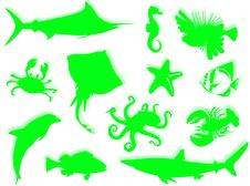 Free Sea-life Silhouette Royalty Free Stock Photo - 6813155