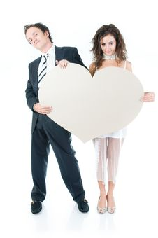 Free Young Couple Holding Heart Shape Stock Photography - 6813282