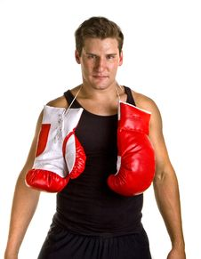 Free Boxer With Gloves Tied Around Neck Stock Photography - 6814292