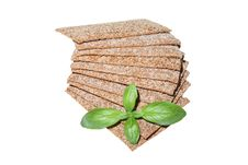 Crispbread Slices With Basil Royalty Free Stock Photo