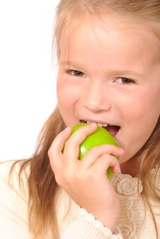 Free Little Girl With Green Apple Royalty Free Stock Image - 6814436