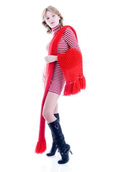 Free Young Girl With Long Red Scarf Stock Photos - 6814473