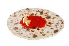 Free Red Caviar  With Lemon On  Ethnic Flatbread Royalty Free Stock Photos - 6814818