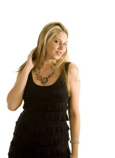 Blonde In Black Dress Hand In Hair Royalty Free Stock Photography