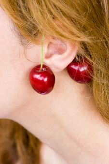 Cherry Earrings Royalty Free Stock Images