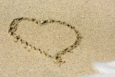Heart Written On Wet Sand Royalty Free Stock Photo