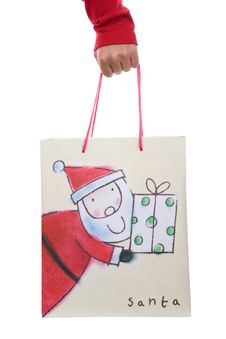 Free Woman Holding Christmas Present Bag In The Hand Stock Image - 6816591