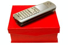 Free Gray Mobile Telephone And Red Cardboard Box. Stock Image - 6817771