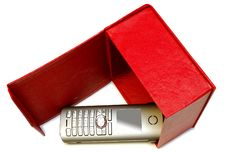 Gray Mobile Telephone And Red Cardboard Box. Stock Images
